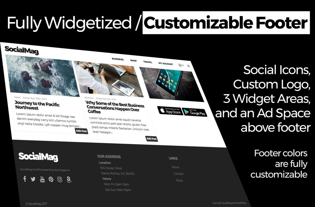 customizable widget footer